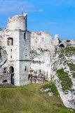 Castle tower. Ruins castle wall ,old, sky Stock Images