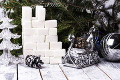 The castle tower of sugar cubes Royalty Free Stock Images