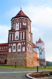 Castle tower in town Mir in Belarus. The towers of the ancient castle in the town of Mir. Belarus Royalty Free Stock Photography