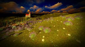 Castle towering 9ver lavender fields. Lavender fields landscape in the evening Royalty Free Stock Image