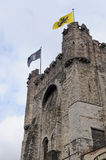 Castle towers. Old castle towers with flag Royalty Free Stock Images