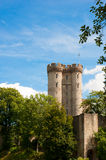 Castle towers. View on a castle with nice blue sky Stock Photos