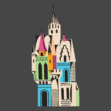 Castle with towers for fairy tales multicolor on gray Royalty Free Stock Photo