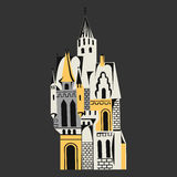 Castle with towers for fairy tales orange on gray Stock Photos