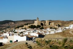 Castle and town, Antequera, Spain. Royalty Free Stock Photo