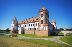 Castle in town Mir of Belarus. Stock Photos