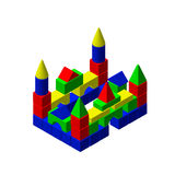 Castle from toy building blocks.Vector colorful illustration.Iso Stock Photo