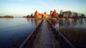 The castle of Trakai. Aerial view from above in winter, video stock footage