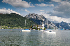 Castle on Traunsee lake Stock Photography