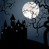 Castle , tree and moon Royalty Free Stock Photos