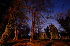 Castle with trees and stars Royalty Free Stock Photography