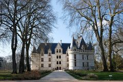 Castle and trees in Tours France. It is famous of wine and travel Royalty Free Stock Image