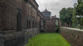 Castle trench with inner wall and defense wall. Italy city trip milan castle trench with inner wall and defense wall royalty free stock photography