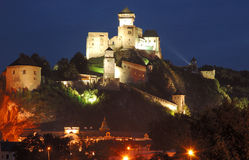 Castle in Trencin. At night, slovakia Stock Photography
