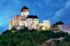 Castle in Trencin at night, Slovakia stock photos