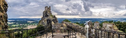 Castle Trosky panorama Stock Photography