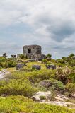 The Castle at Tulum Ruins, Quintana Roo. Mexico royalty free stock photography