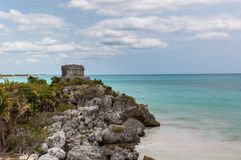 The Castle at Tulum Ruins, Quintana Roo. Mexico royalty free stock image