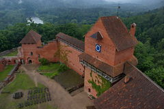 Castle Turaida on a foggy day, Latvia royalty free stock photography