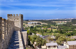 Castle Turrets Towers Walls Countrside Obidos Portugal. Castle Wals Turrets Towers Countryside Farmland Medieval Town Obidos Portugal. Castle and walls built in Stock Image