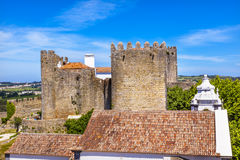 Castle Turrets Towers Walls Roofs Obidos Portugal Royalty Free Stock Image