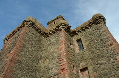Castle Turrets. A view of the ruins of the historic Balvaird castle Royalty Free Stock Photo