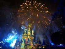 Castle under fireworks Stock Image