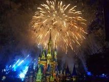 Castle under fireworks Stock Images