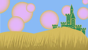 Castle under pink suns Royalty Free Stock Image