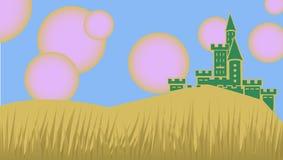 Castle under pink suns. Vector illustration Royalty Free Stock Image