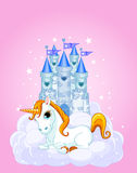 Castle and Unicorn vector illustration