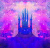 Castle and Unicorns. Raster Illustration Stock Photo