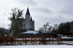 Castle Veves, snow, Furfooz, Diant, Belgium royalty free stock photo