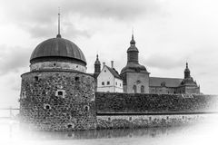 The Castle. Vadstena. Sweden. The best preserve castle of the 16 century. Vadstena. Sweden. Black & white vintage style stock image