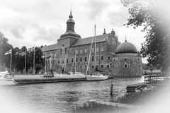 The Castle. Vadstena. Sweden. The best preserve castle of the 16 century. Vadstena. Sweden. Black & white vintage style royalty free stock images