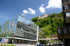 Castle Vaduz - view from center. Modern city center established by prince liechtenstein Royalty Free Stock Images