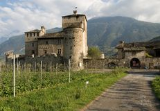 Castle in val d'Aosta. In Italy stock image