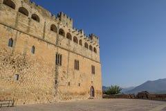 Castle of Valderrobres and surrounding landscape of Aragon stock images