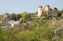 Castle Valec in western Bohemia, Czech republic. Baroque castle and town Valec in western Bohemia, Czech republic Royalty Free Stock Image