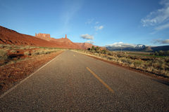 Castle valley road. A road in the desert near moab in castle valley utah Royalty Free Stock Photo