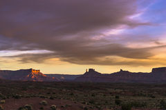 Castle Valley at Sunset, Moab Utah route 128 Royalty Free Stock Photos