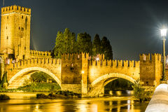 Castle Vecchio at summer night in Verona, Italy Royalty Free Stock Photos