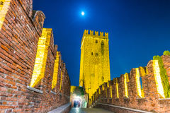 Castle Vecchio at summer night in Verona, Italy Royalty Free Stock Photography