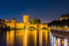 Castle Vecchio at summer night in Verona, Italy Stock Photos