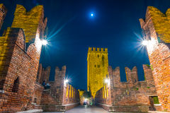 Castle Vecchio at summer night in Verona, Italy Stock Photography