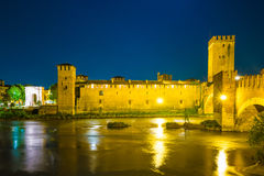 Castle Vecchio at summer night in Verona, Italy Royalty Free Stock Image