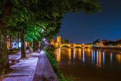 Castle Vecchio at summer night in Verona, Italy Royalty Free Stock Image