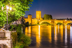 Castle Vecchio at summer night in Verona, Italy Royalty Free Stock Images