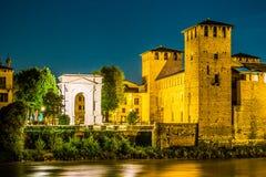 Castle Vecchio at summer night in Verona, Italy Royalty Free Stock Photo