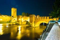 Castle Vecchio at summer night in Verona, Italy Royalty Free Stock Photography